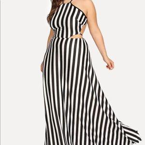 SHEIN Plus Vertical Stripe Halter Dress